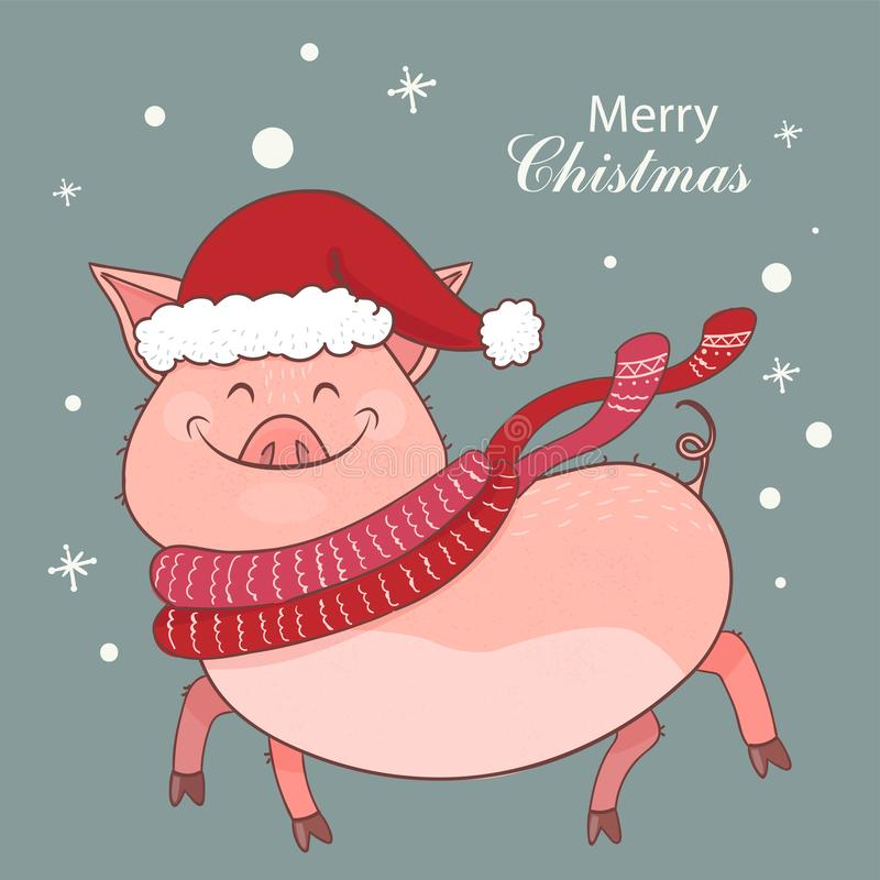 与一头逗人喜爱的猪的圣诞卡 年的标志2019年 贪心在一个新年帽子穿戴图片