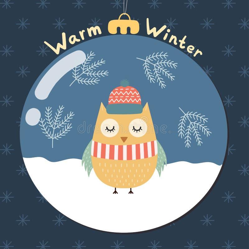 与一头逗人喜爱的猫头鹰的温暖的冬天贺卡 皇族释放例证