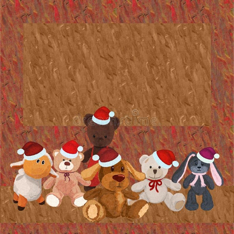 与一套的五颜六色的背景长毛绒戏弄,圣诞节 向量例证