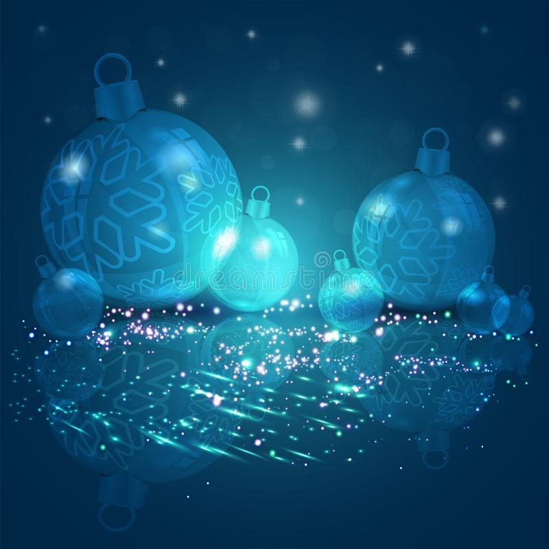 与一套的圣诞节背景深蓝颜色与雪花,3d的圣诞节发光的球例证 库存例证