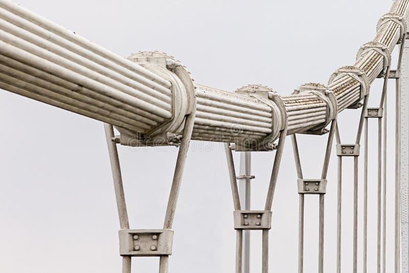 与一定数量的金属圈的钢厚实的扭转的吊桥缆绳反对进入距离的白色天空背景 库存图片