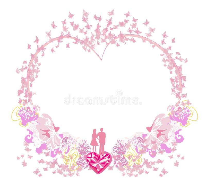 与一对夫妇的装饰框架在爱 库存例证
