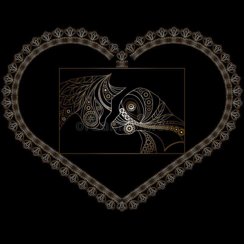 与一对浪漫夫妇1的装饰心脏 向量例证