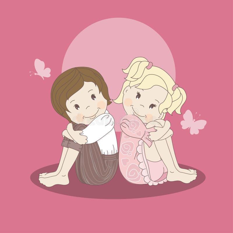 与一对爱恋的夫妇十几岁的明信片 皇族释放例证