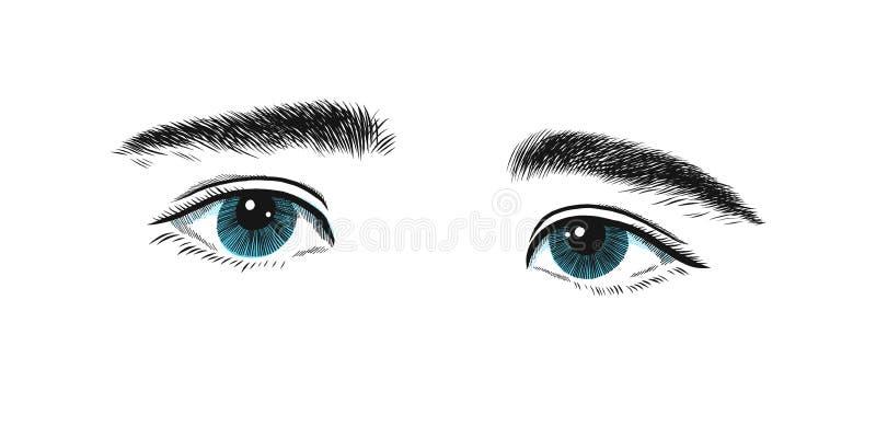 与一小差的孩子和哀伤眼睛 眼睛情感、剪影黑的向量图形和蓝色图画 向量例证