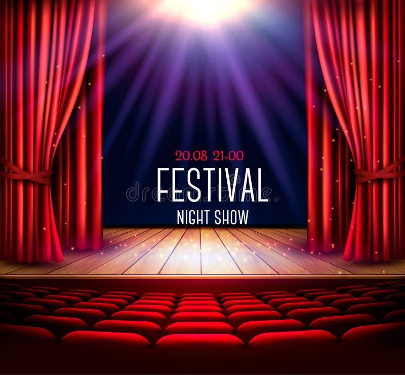 与一幅红色帷幕和聚光灯的一个剧院阶段 皇族释放例证