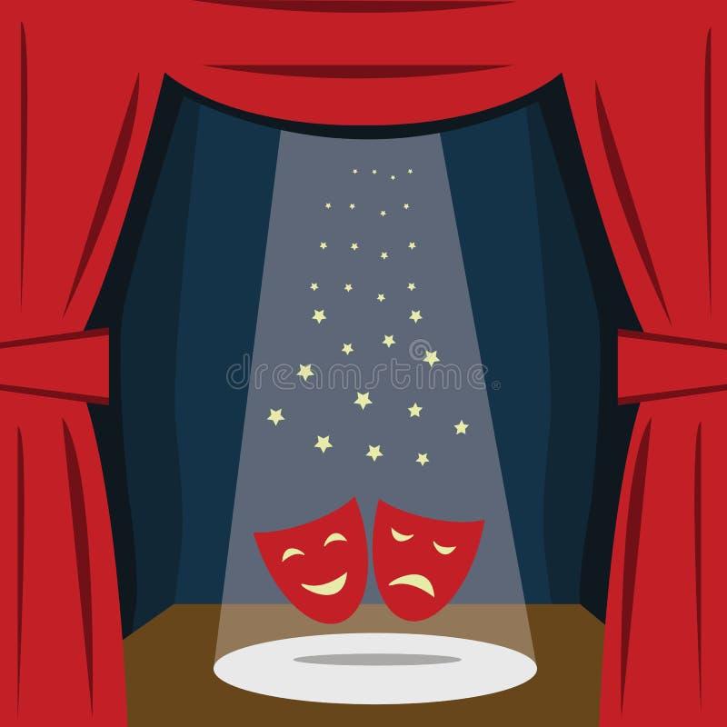 与一幅红色帷幕,位子的一个剧院阶段 向量 库存例证