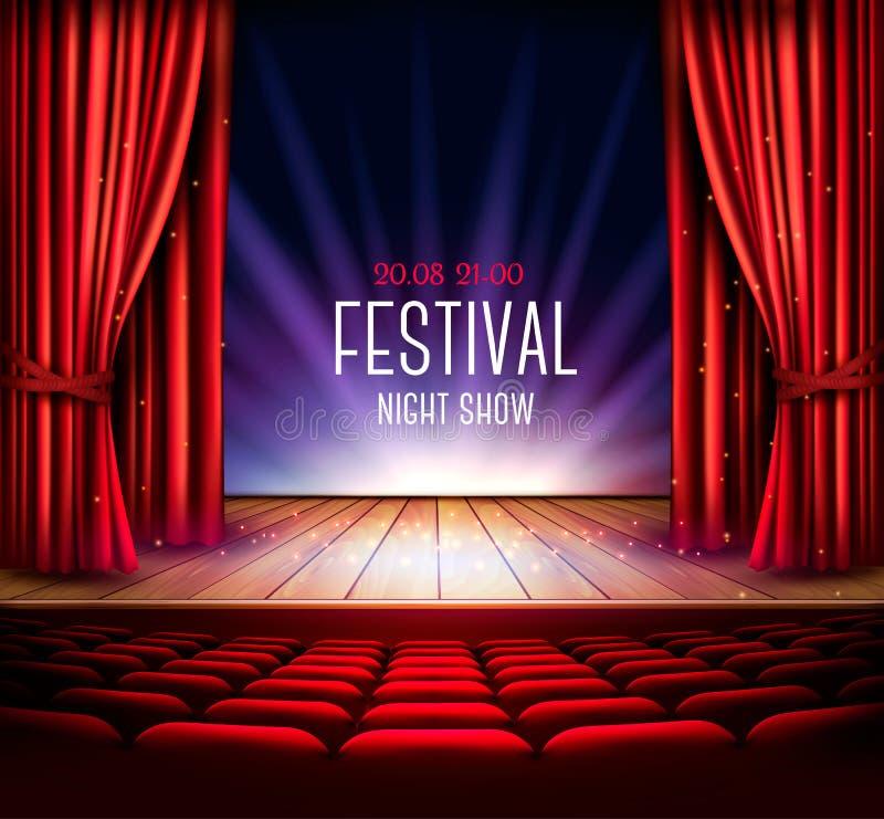 与一幅红色帷幕a的一个剧院阶段 库存例证