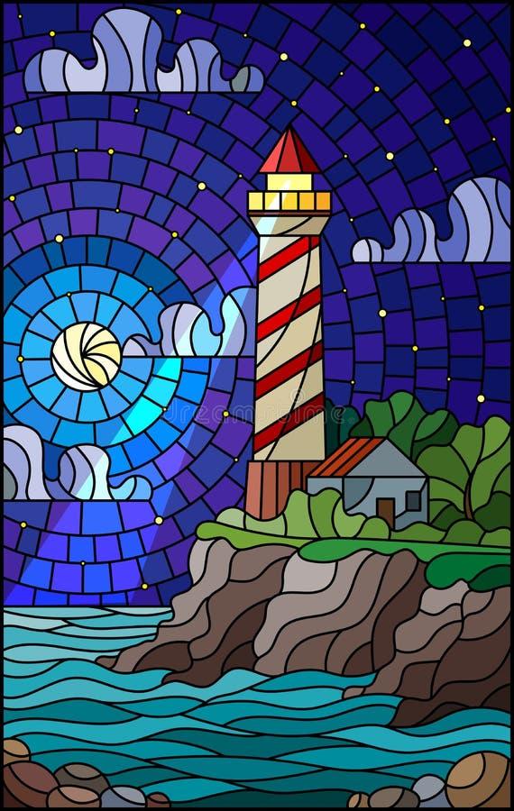 与一座灯塔的彩色玻璃例证在海、满天星斗的天空和月亮的背景 向量例证