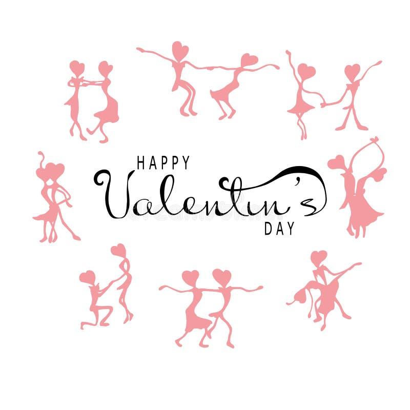与一张印刷海报的愉快的华伦泰` s天与手写的书法文本,在白色背景 跳舞葡萄酒silhouet 库存例证