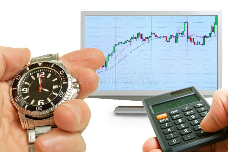 对股市的活动的分析。 免版税库存照片