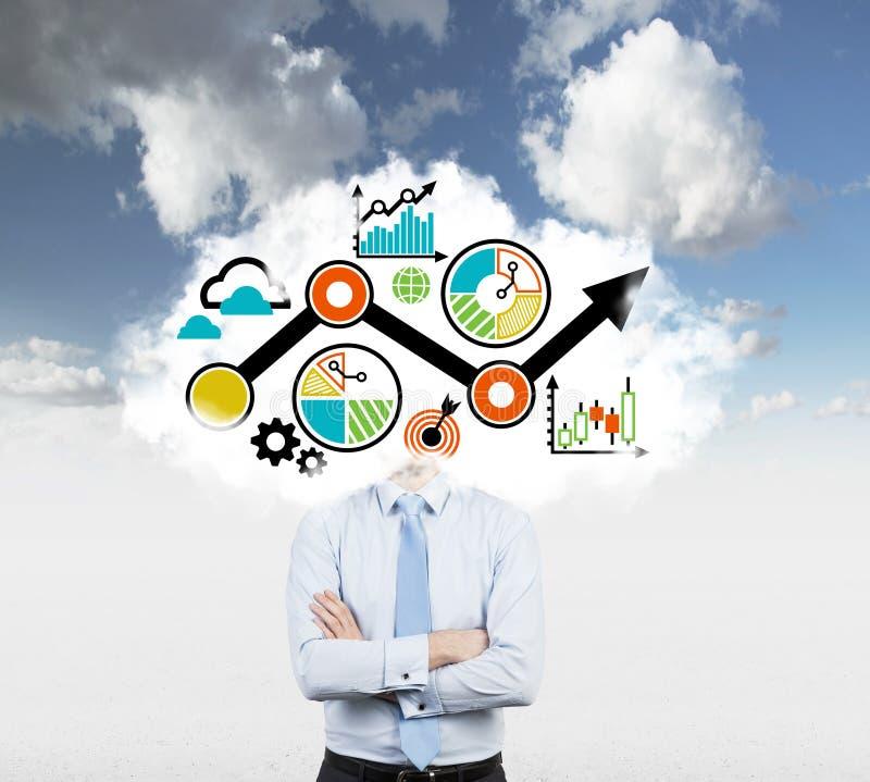 与一张拉长的流程图的一朵云彩而不是经理的头 库存图片