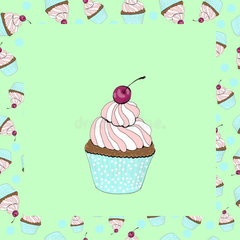 与一张樱桃生日贺卡的杯形蛋糕在绿色背景 向量例证