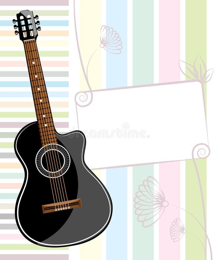 与一把声学吉他的横幅 向量例证