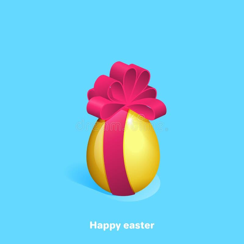 与一把大桃红色弓的金黄复活节彩蛋在蓝色背景 皇族释放例证