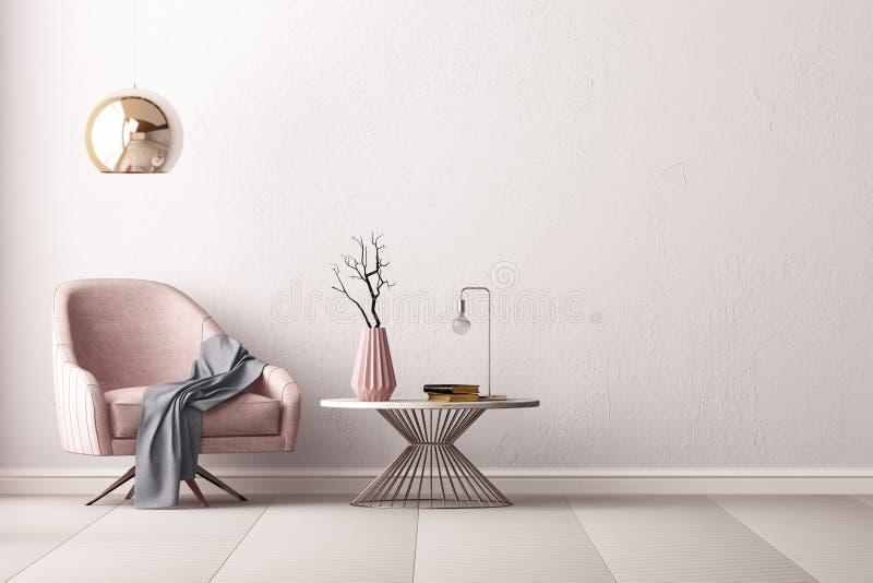 与一把扶手椅子和一张小的桌的内部在空的墙壁, 3D的背景回报, 3d例证 库存例证