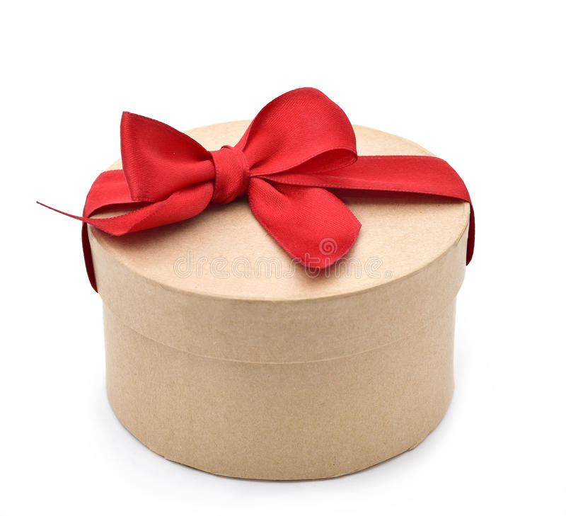 与一把红色丝带弓的礼物 库存图片
