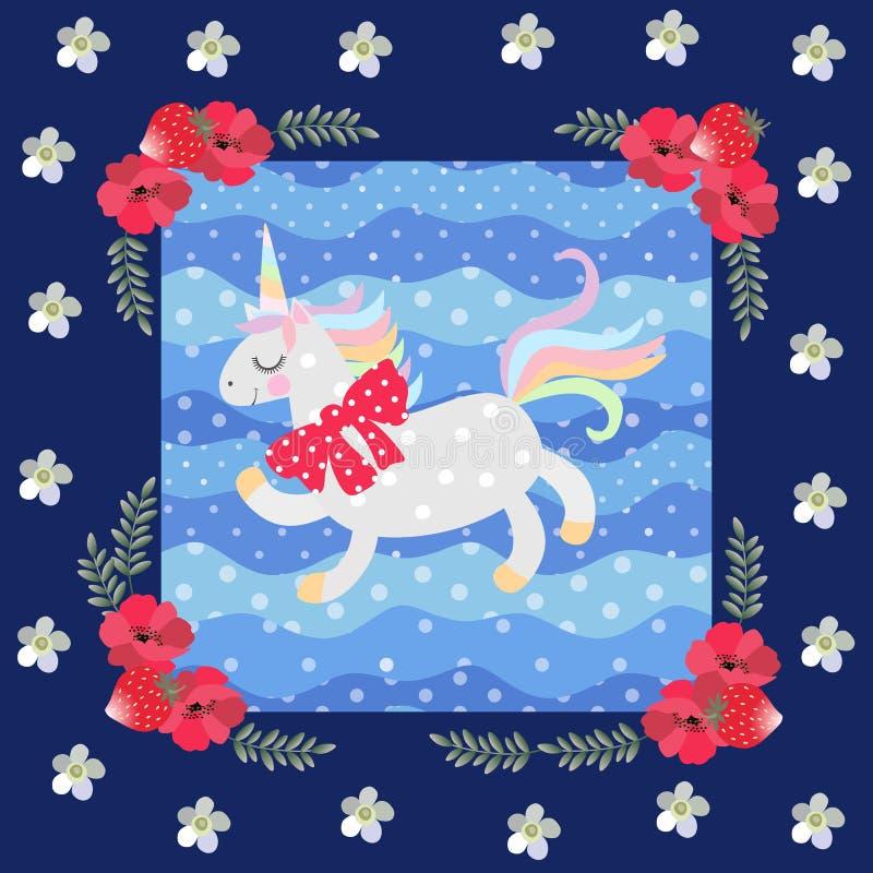 与一把红色弓的滑稽的独角兽在他的在蓝色背景的脖子上与圆点 美好的花卉框架 滑稽的补缀品样式 库存例证