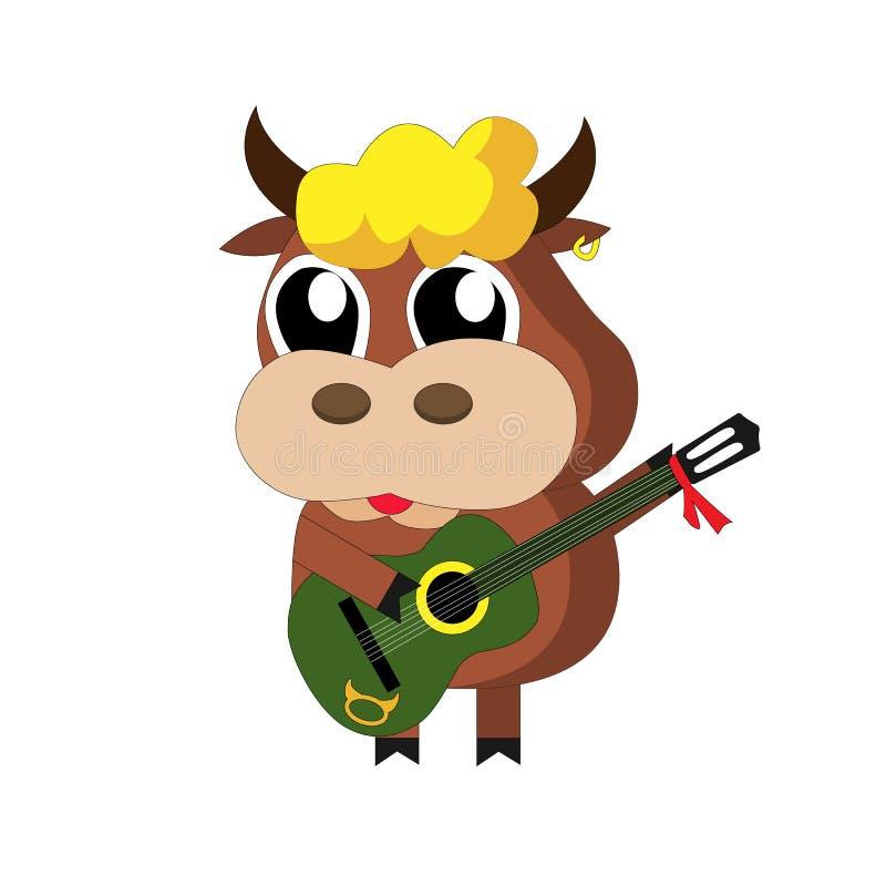 与一把绿色吉他的滑稽的小的公牛 库存图片