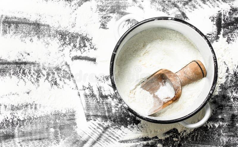 与一把铁锹的面粉在平底深锅 库存照片