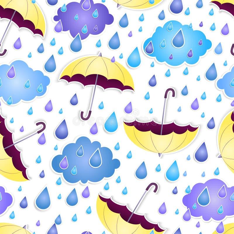 与一把黄色伞的无缝的背景 向量例证