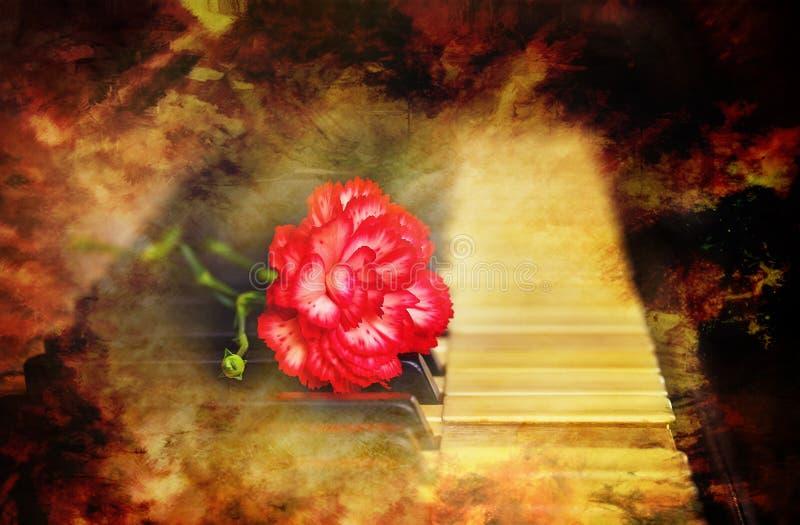 与一支红色康乃馨的老葡萄酒大平台钢琴钥匙开花,葡萄酒图片 概念电吉他例证音乐 图库摄影