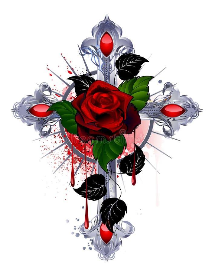 与一朵红色玫瑰的十字架 向量例证