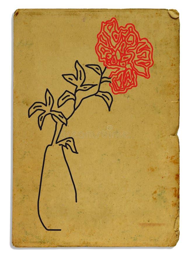 与一朵红色花的图片的明信片 免版税库存图片