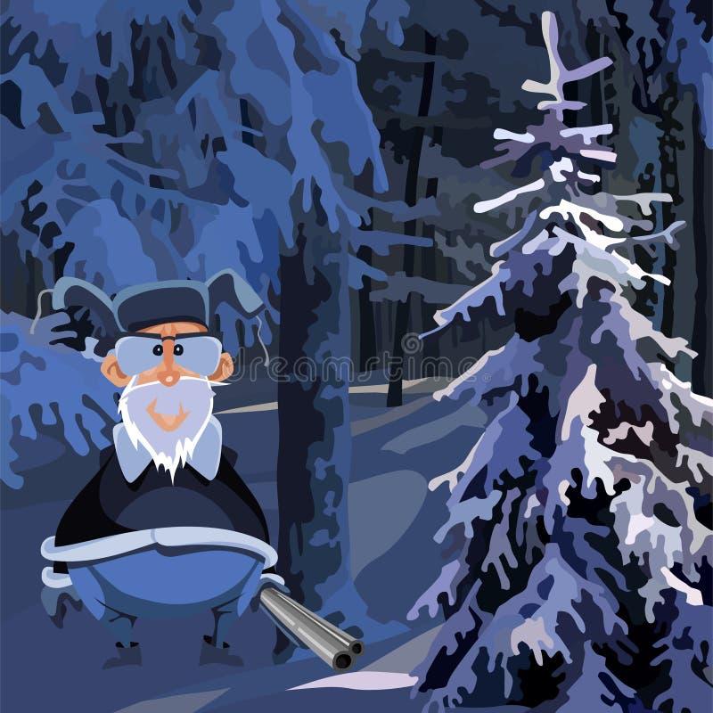 与一杆枪的动画片祖父猎人在冬天多雪的森林里 皇族释放例证
