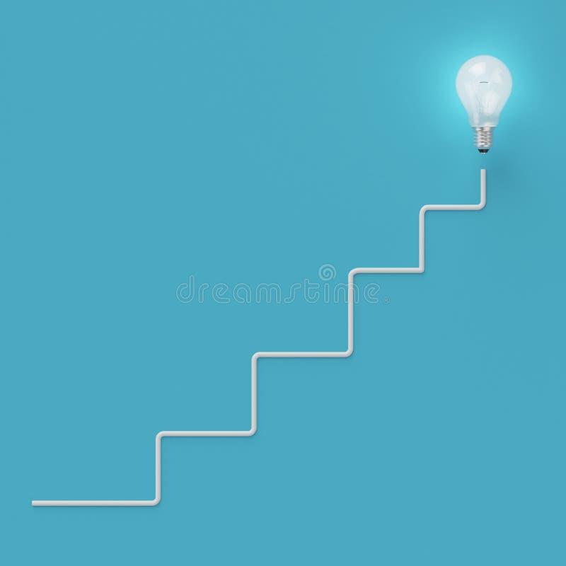 与一条不同想法图表线的发光的电灯泡在浅兰的背景 向量例证