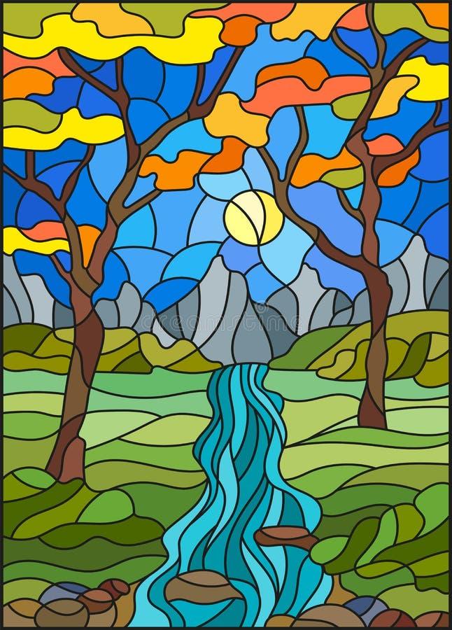 与一条岩石小河的彩色玻璃例证在晴朗的天空、山、树和领域,秋天风景的背景中 库存例证