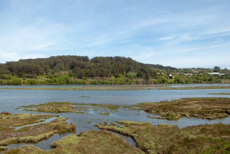 与一条河和山的加利西亚风景在一好日子 Ria de贝坦索斯和Mandeo河在拉科鲁尼亚 免版税库存照片