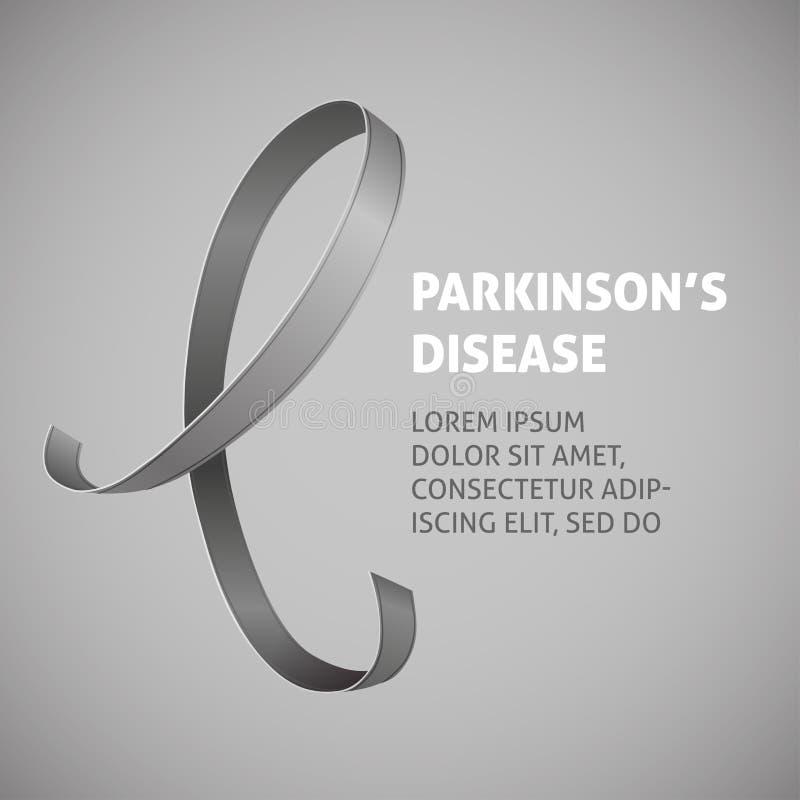 与一条灰色丝带的一个方形的传染媒介图象作为帕金森病了悟的标志 一世界帕金森病天 模板 向量例证