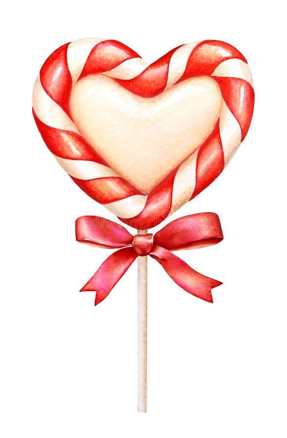 与一条红色丝带的水彩心形的棒棒糖在白色背景 皇族释放例证