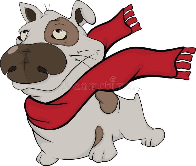 与一条红色围巾的狗。动画片 库存例证