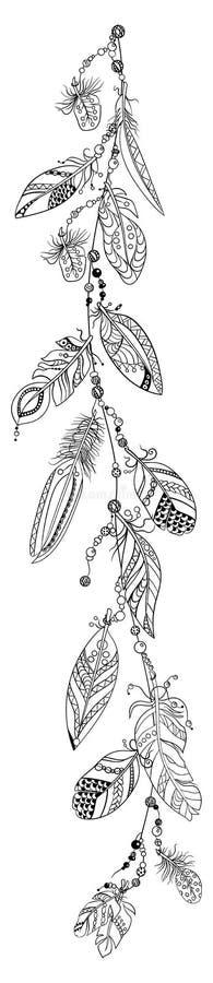 与一条绳索的垂直的装饰样式与在传染媒介的羽毛 皇族释放例证