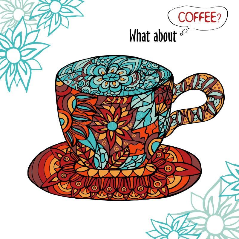 与一杯咖啡的五颜六色的例证和花饰 库存例证