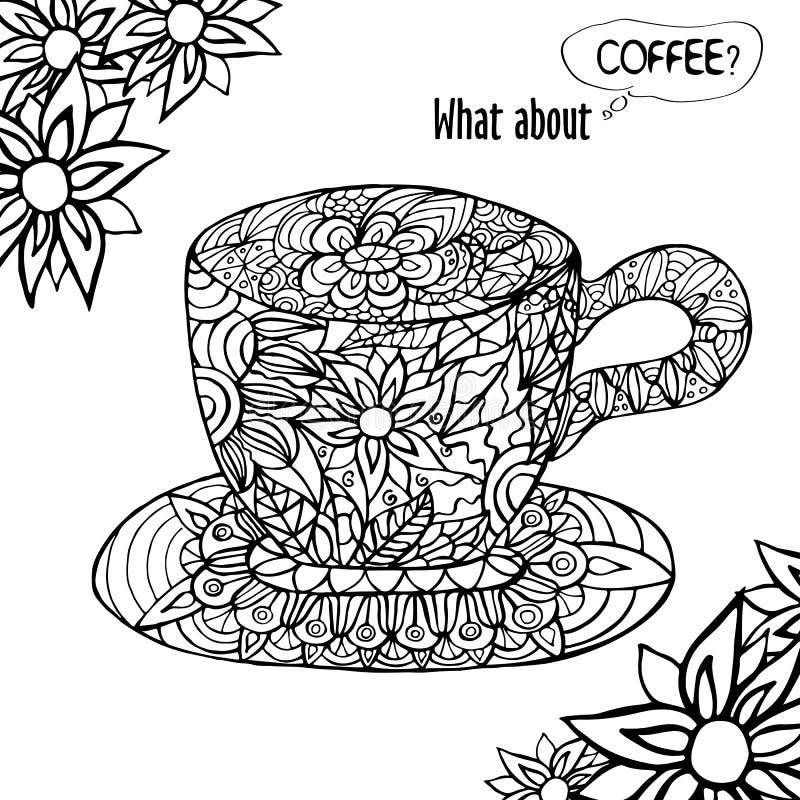 与一杯咖啡的例证和手拉花卉 向量例证