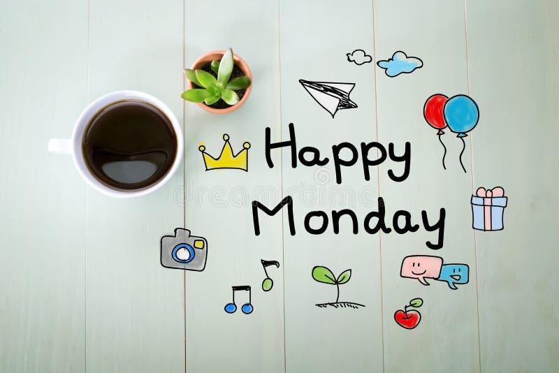 与一杯咖啡的愉快的星期一消息 免版税库存照片
