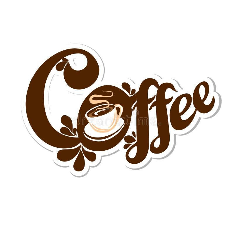 与一杯咖啡的文本商标 库存例证