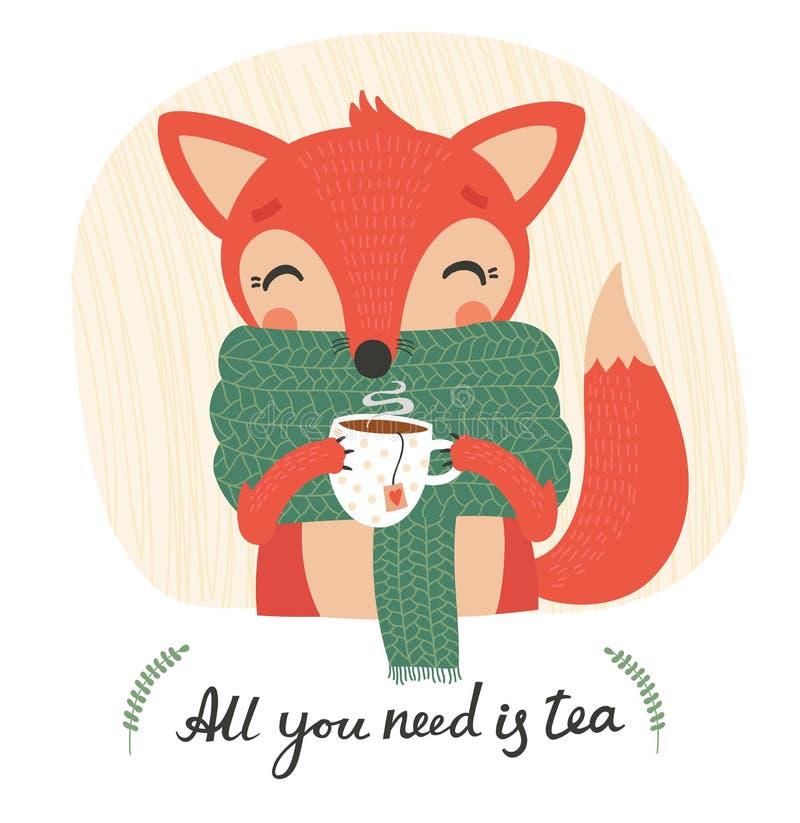 与一杯茶的逗人喜爱的狐狸 向量例证