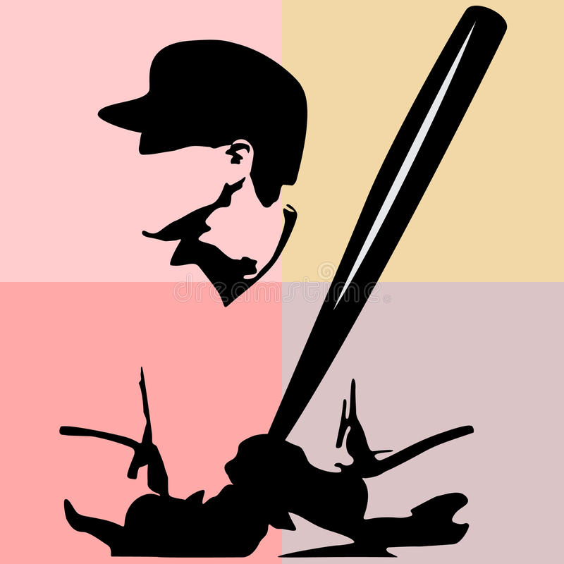 与一根棒的棒球运动员` s剪影在抽象背景 免版税库存图片
