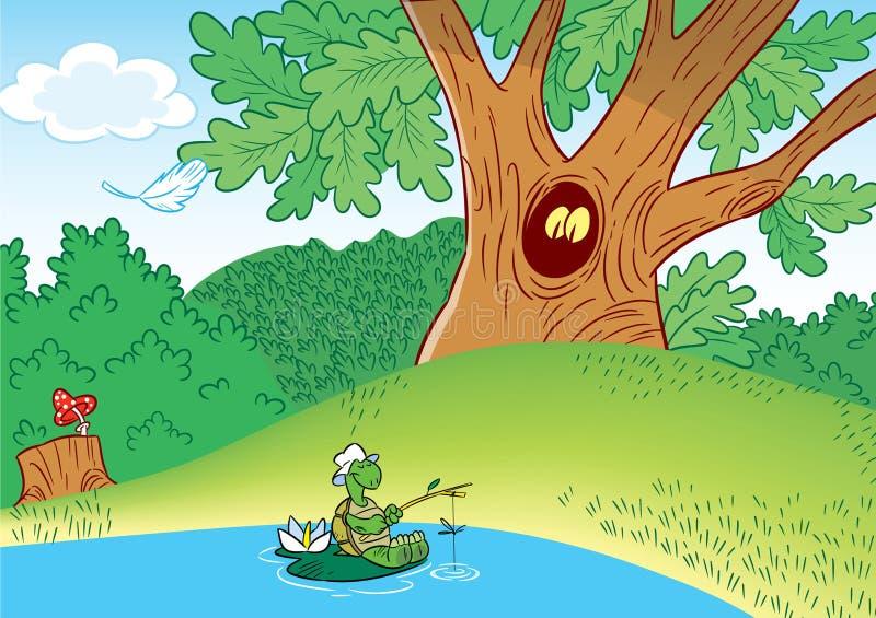 例证显示一只俏丽的乌龟,在池塘抓鱼,在绿色森林背景图片