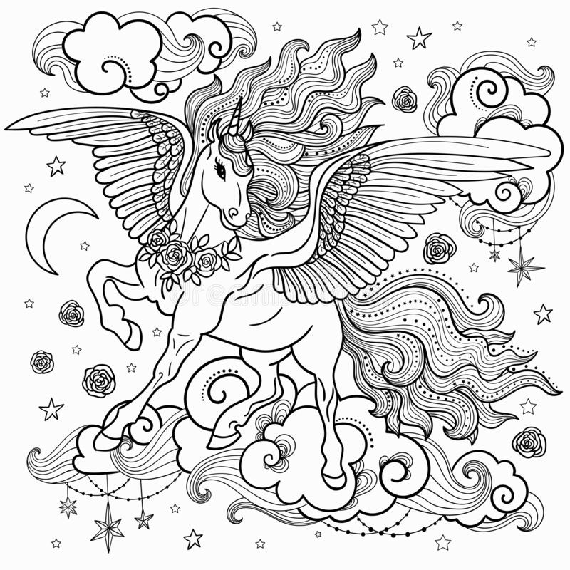 与一根长的鬃毛的美好的独角兽 黑色白色 对上色 对图表印刷品设计,例证 向量 皇族释放例证