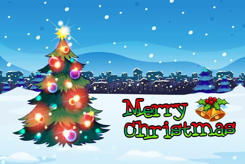 与一棵圣诞树的一张圣诞卡与闪耀的球 库存例证