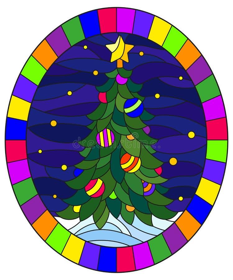 与一棵圣诞树的彩色玻璃例证在雪和满天星斗的天空,在明亮的框架的卵形例证背景  库存例证