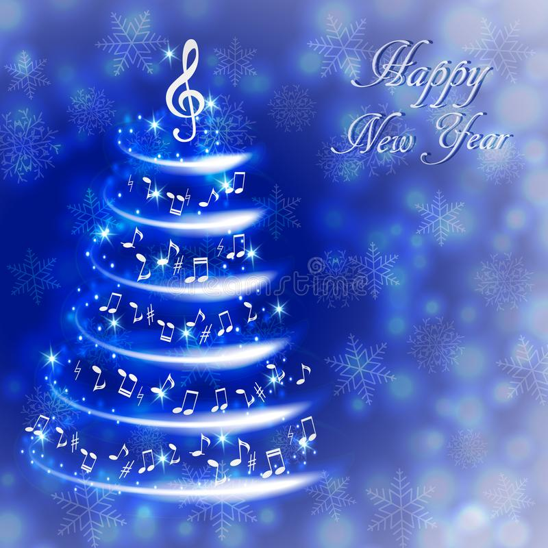 与一棵抽象音乐圣诞树的贺卡,与笔记和高音谱号 库存例证