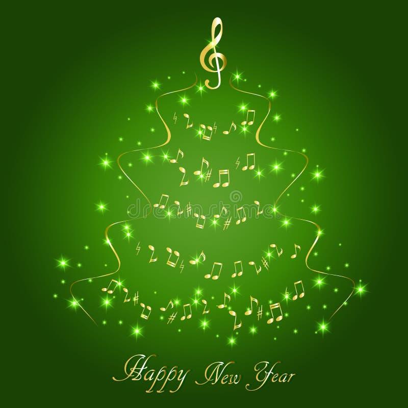 与一棵抽象音乐圣诞树的贺卡,与笔记和高音谱号 向量例证