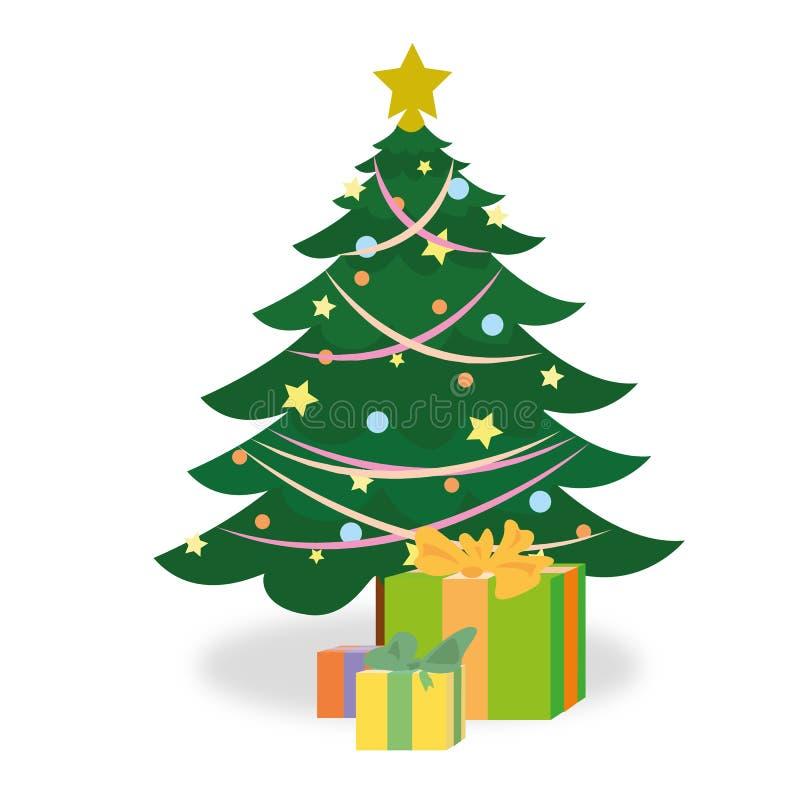 与一棵欢乐圣诞树的圣诞卡和礼物在它下 库存例证