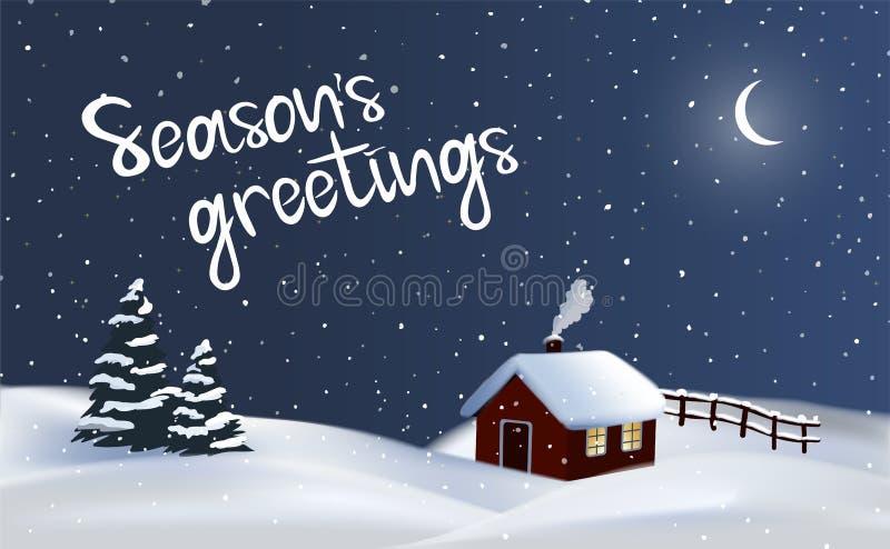 与一棵红色村庄房子、烟囱烟和圣诞树,圣诞快乐的欢乐传染媒介夜冬天乡下背景 库存例证